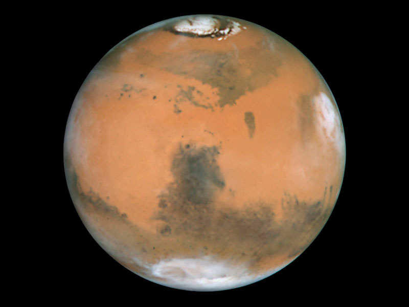 Mars' polar caps can be viewed easily under the right conditions